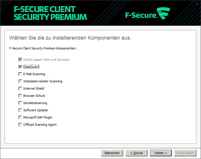 Screenshot minimale Client-Security-Installation